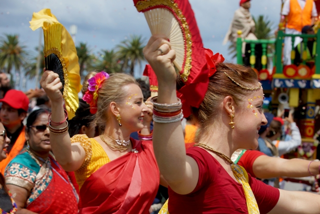 Hindu festivals, such as this year's Rath Yatra in St Kilda, are drawing strong crowds. PIC: Supplied